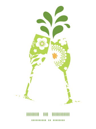 toasting wine: Vector green and golden garden silhouettes toasting wine glasses silhouettes pattern frame