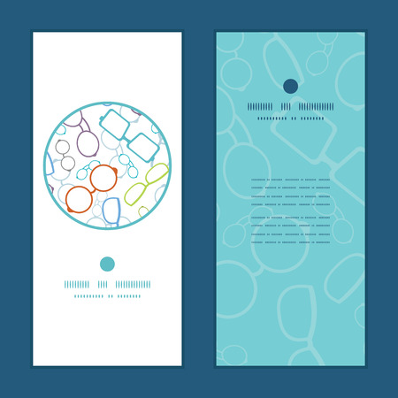 Vector colorful glasses vertical round frame pattern invitation greeting cards set