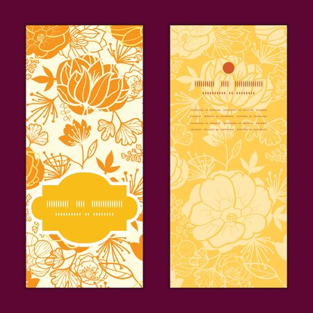 greeting: Vector golden art flowers vertical frame pattern invitation greeting cards set