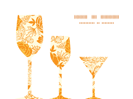 Vector golden art flowers three wine glasses silhouettes pattern frame