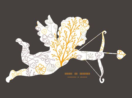 Vector magical floral shooting cupid silhouette frame pattern invitation greeting card template Ilustrace
