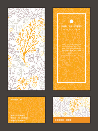 rsvp: Vector magical floral vertical frame pattern invitation greeting, RSVP and thank you cards set Illustration