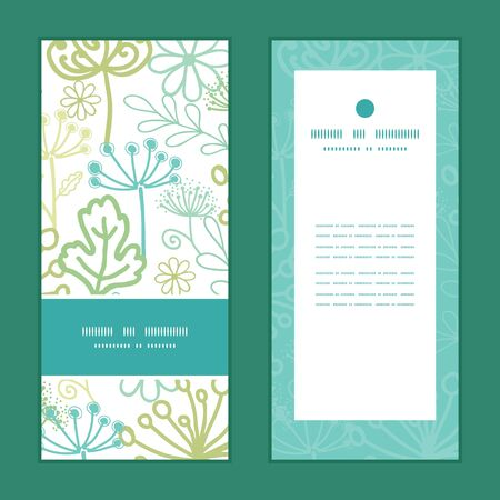 modern: Vector mysterious green garden vertical frame pattern invitation greeting cards set