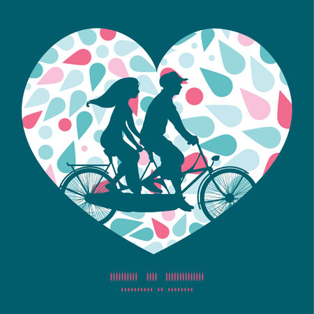 tandem bicycle: Vector abstract colorful drops couple on tandem bicycle heart silhouette frame pattern greeting card template Illustration