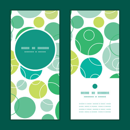 Vector abstract green circles vertical round frame pattern invitation greeting cards set