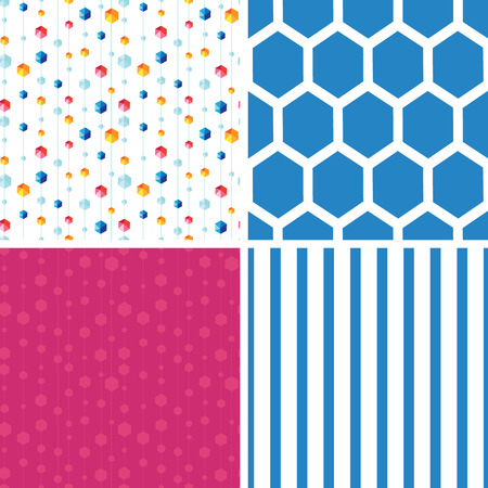 Vector abstract hanging jewels striped set of four marching repeat patterns Vector