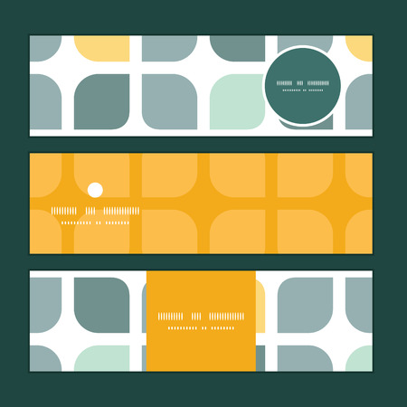 Vector abstract gray yellow rounded squares horizontal banners set pattern background