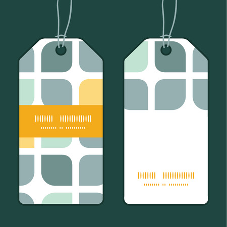 stripe: Vector abstract gray yellow rounded squares vertical stripe frame pattern tags set