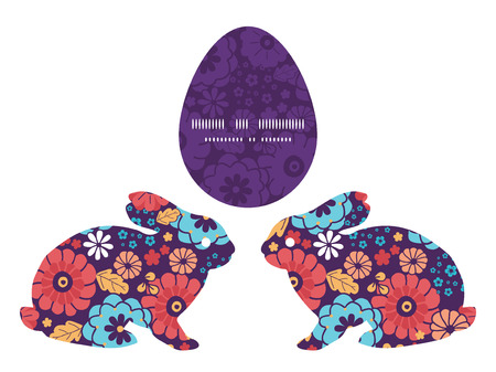rabbit silhouette: Vector colorful bouquet flowers bunny rabbit silhouette Easter frame Illustration