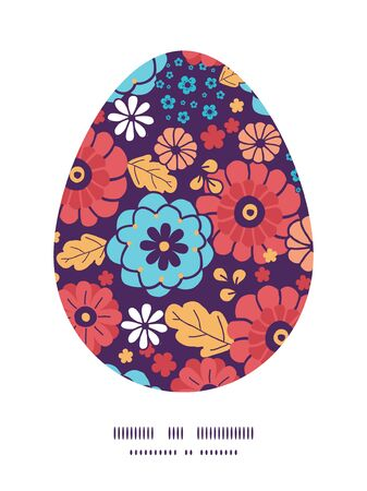Vector colorful bouquet flowers Easter egg sillhouette frame card template Vector