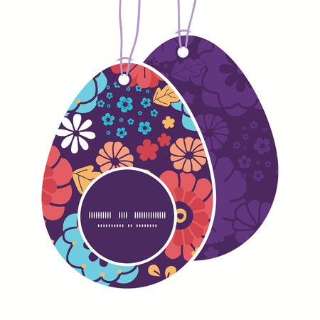 egg shaped: Vector colorful bouquet flowers Easter egg shaped tags set template