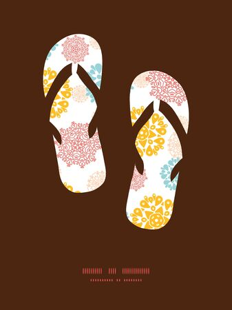 wheal: Vector abstract decorative circles stars flip flops silhouettes pattern frame