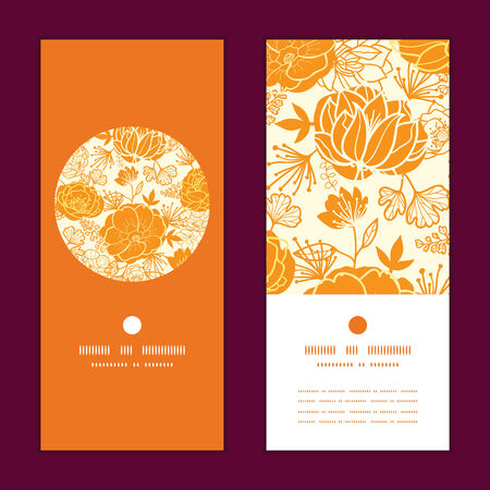 packaging: Vector golden art flowers vertical round frame pattern invitation greeting cards set Illustration