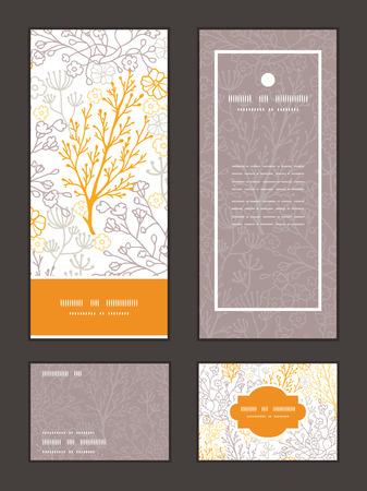 vintage card: Vector magical floral vertical frame pattern invitation greeting, RSVP and thank you cards set Illustration
