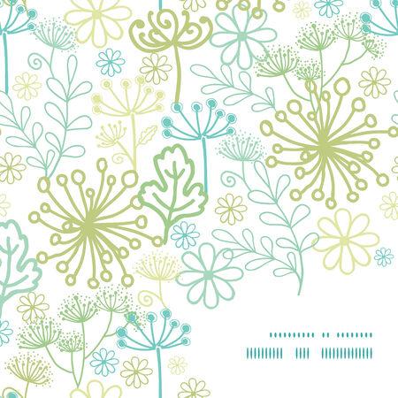 contrast floral: Vector mysterious green garden frame corner pattern background