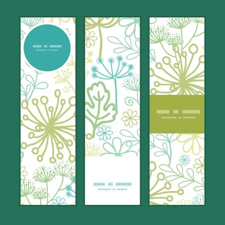 vertical garden: Vector mysterious green garden vertical banners set pattern background
