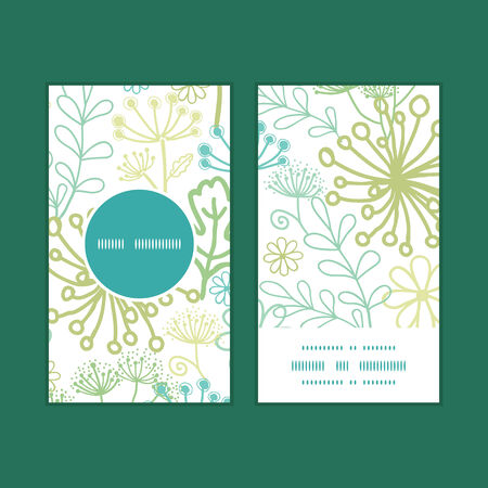Vector mysterious green garden vertical round frame pattern business cards set