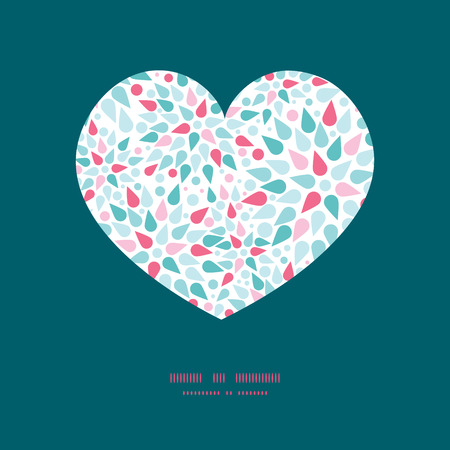 Vector abstract colorful drops heart silhouette pattern frame