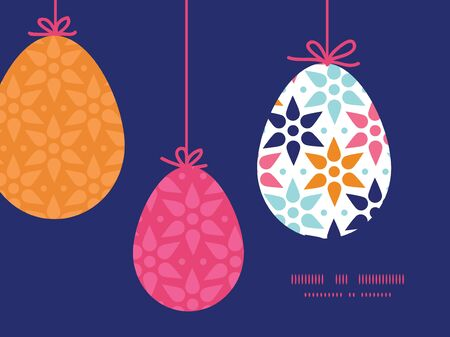Vector abstract colorful stars hanging Easter eggs ornaments sillhouettes frame card template Vector