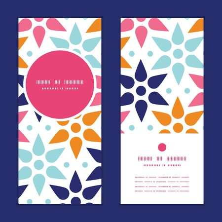 greeting: Vector abstract colorful stars vertical round frame pattern invitation greeting cards set