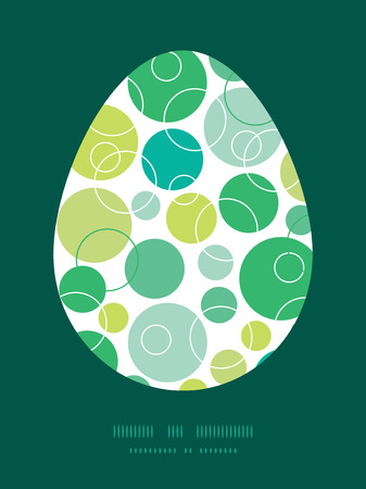 sillhouette: Vector abstract green circles Easter egg sillhouette frame card template