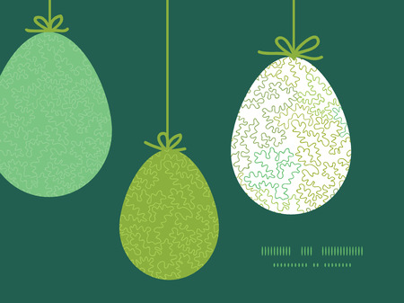 Vector curly doodle shapes hanging Easter eggs ornaments sillhouettes frame card template Vector
