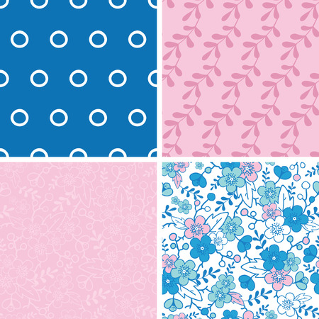Vector blue and pink kimono blossoms set of four marching repeat patterns backgrounds