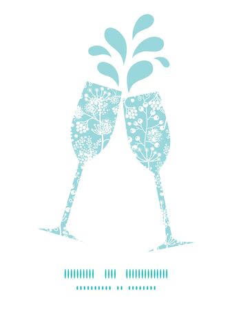 toasting wine: Vector blue and white lace garden plants toasting wine glasses silhouettes pattern frame