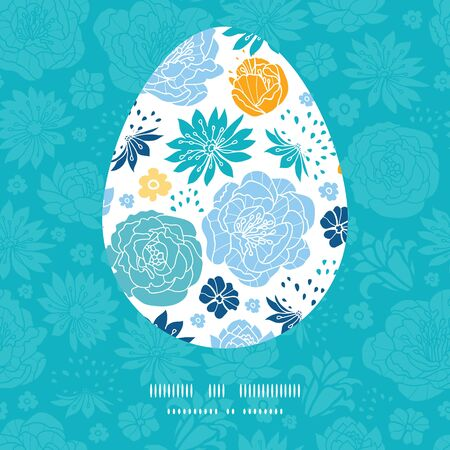 sillhouette: Vector blue and yellow flowersilhouettes Easter egg sillhouette frame card template Illustration