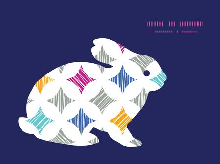 conejo: Azulejos textura de m�rmol colorido Vector conejito conejo silueta del marco de Pascua Vectores