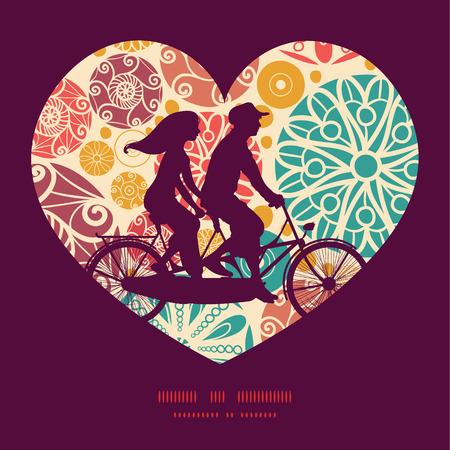Vector abstract decorative circles couple on tandem bicycle heart silhouette frame pattern greeting card template