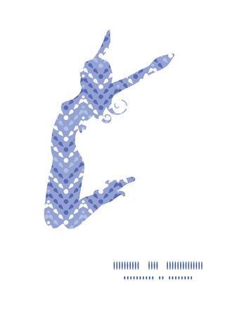 jumping girl: Vector purple drops chevron jumping girl silhouette pattern frame Illustration