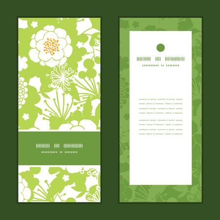 벡터 녹색과 황금 정원 실루엣 세로 프레임 패턴 초대 인사말 카드 세트