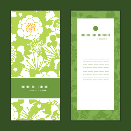 vertical garden: Vector green and golden garden silhouettes vertical frame pattern invitation greeting cards set