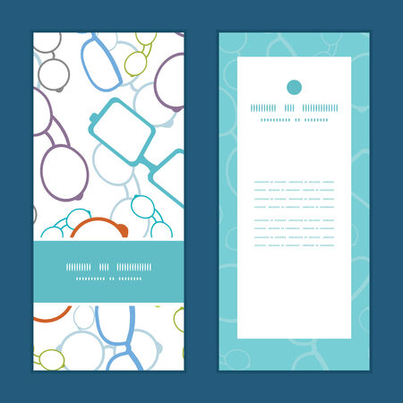 Vector colorful glasses vertical frame pattern invitation greeting cards set Ilustrace