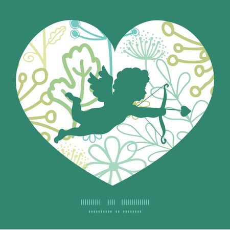 bush babies: Vector mysterious green garden shooting cupid silhouette frame pattern invitation greeting card template
