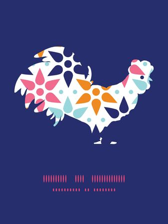 chinese astrology: Vector abstract colorful stars rooster silhouette Easter frame Illustration