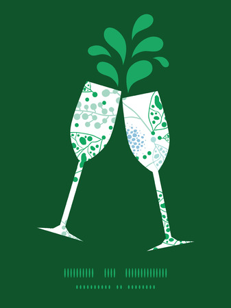 toasting wine: Vector abstract blue and green leaves toasting wine glasses silhouettes pattern frame