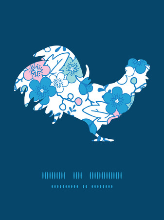 Vector blue and pink kimono blossoms rooster silhouette Easter frame Vector