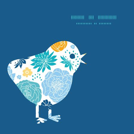 Vector blue and yellow flowersilhouettes chicken silhouette Easter frame Vettoriali