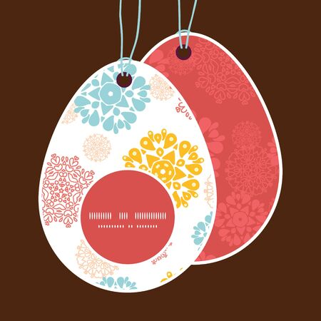 egg shaped: Vector abstract decorative circles stars Easter egg shaped tags set template Illustration