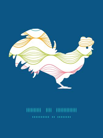 chinese astrology: Vector colorful horizontal ogee rooster silhouette Easter frame Illustration