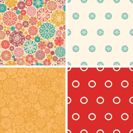 wheal: Vector abstract decorative circles set of four marching repeat patterns backgrounds