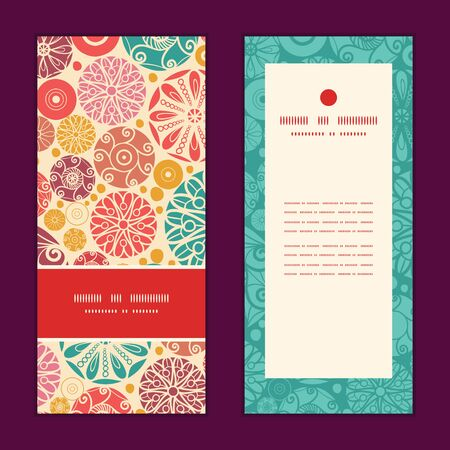 wheal: Vector abstract decorative circles vertical frame pattern invitation greeting cards set