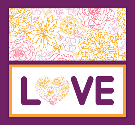Vector flowers outlined love text frame pattern invitation greeting card template