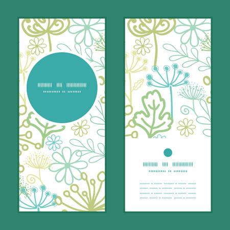 vertical garden: Vector mysterious green garden vertical round frame pattern invitation greeting cards set Illustration