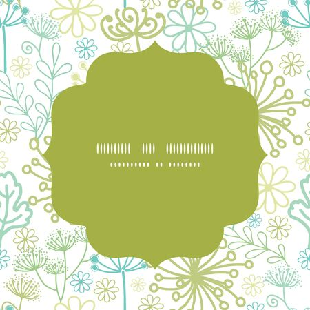 grey background texture: Vector mysterious green garden circle frame seamless pattern background