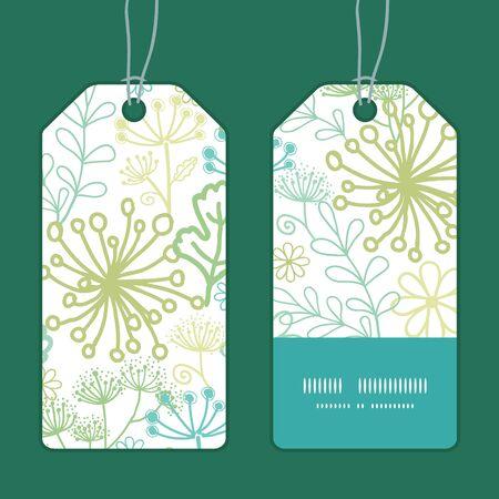 vertical garden: Vector mysterious green garden vertical stripe frame pattern tags set