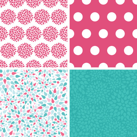 Vector abstract colorful drops set of four marching repeat patterns backgrounds