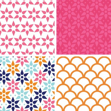 Vector abstract colorful stars set of four marching repeating patterns Vector